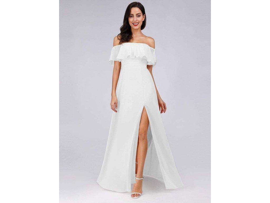Dlouhé bílé šaty s rozparkem a spadlými ramínky