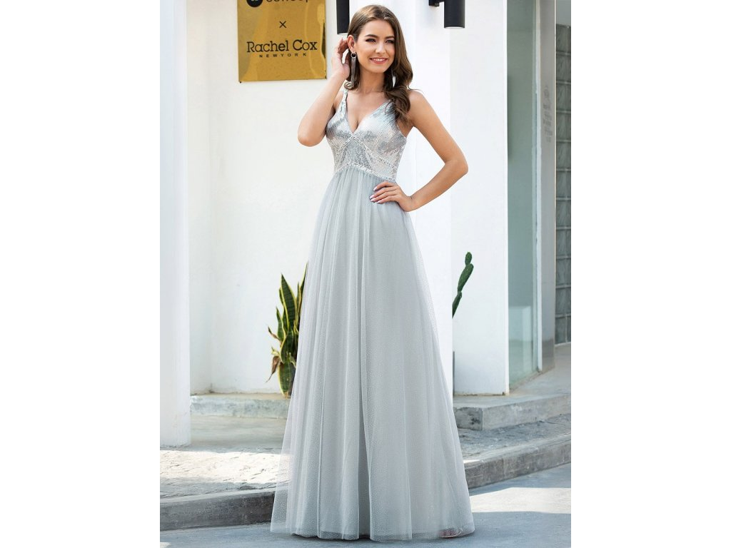 Dlouhé šedé stříbrné šaty s flitry