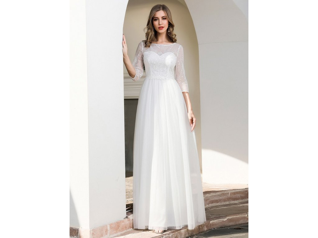 Dlouhé bílé šaty s tříčtvrtečním rukávem