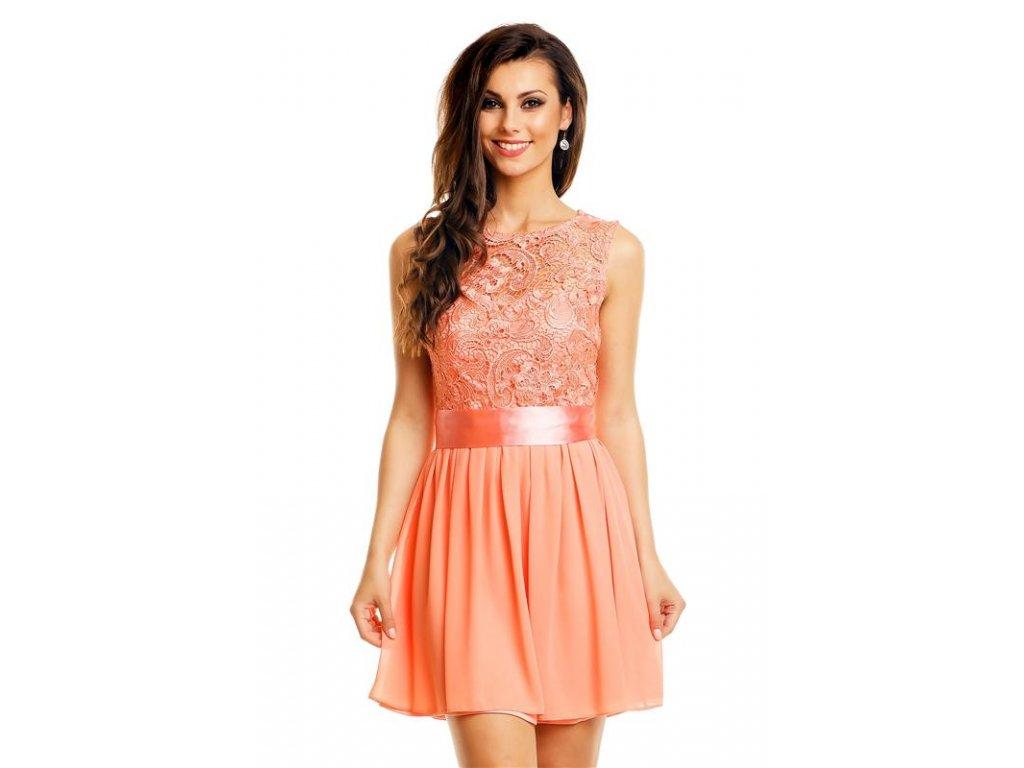 Plesové šaty krátké s krajkou jemně meruňkové HS604