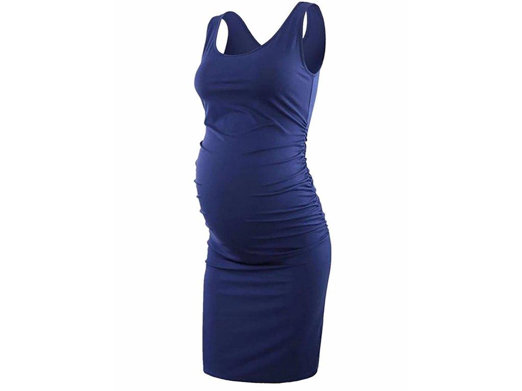 Těhotenské safírové modré šaty krátké