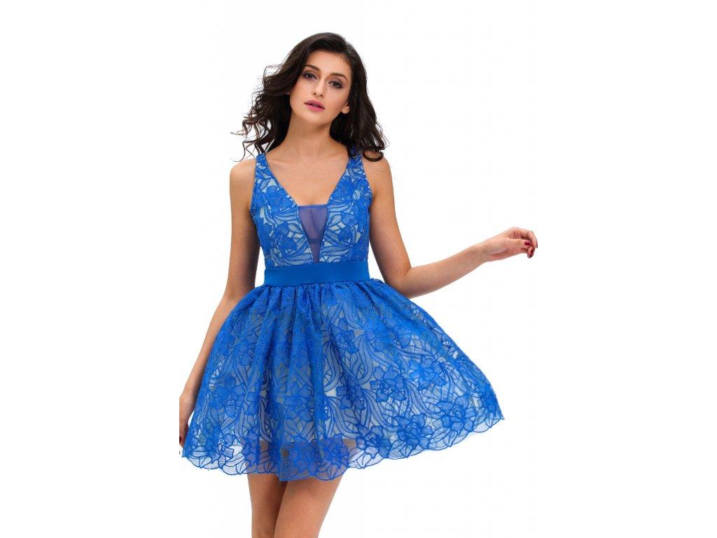 A Skater šaty modré barvy s krajkou 43-5 - trendy-obleceni.cz 63ad9f5899