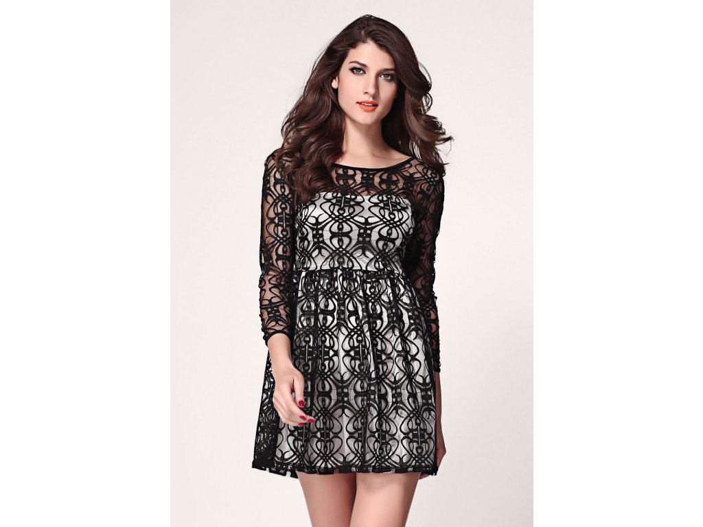 A Skater šaty krátké s krajkou černo bílé 961