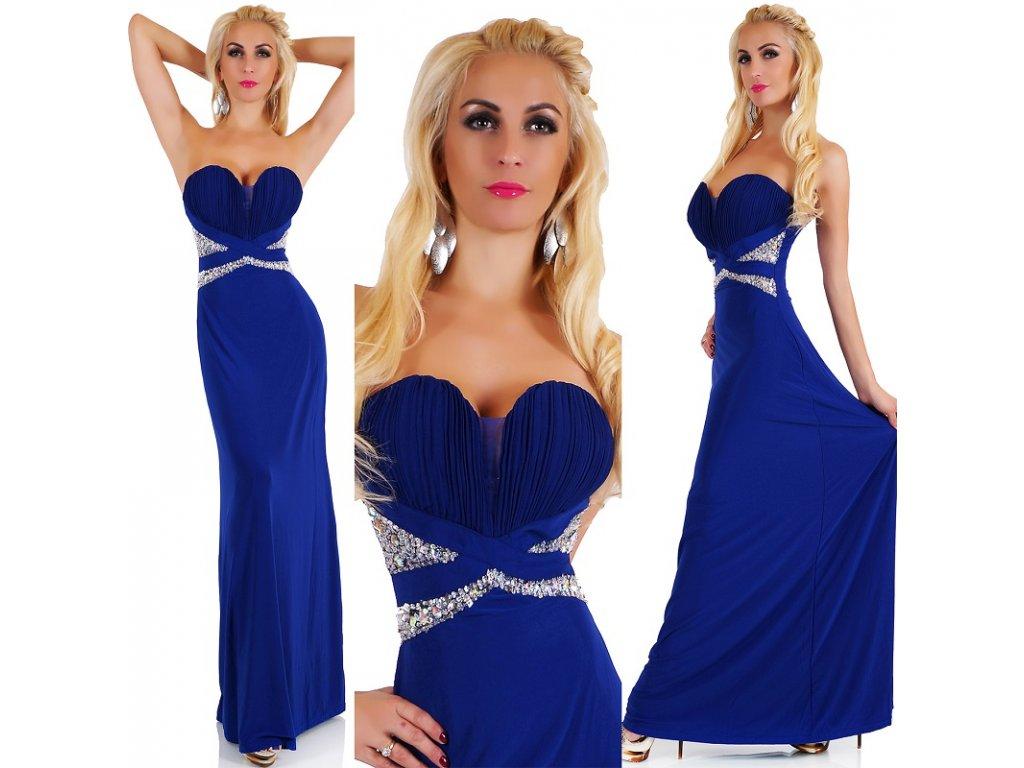Večerní šaty modré elegantní glamour ST138