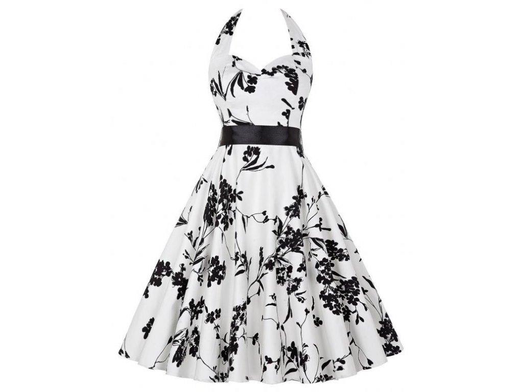 A Letní šaty s květy bílé retro styl květy 2