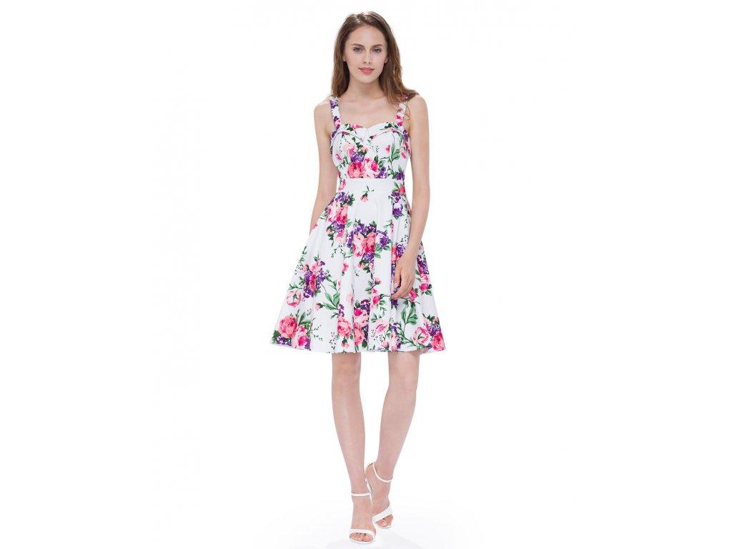 Ever Pretty šaty bílé s růžovými květy 5535