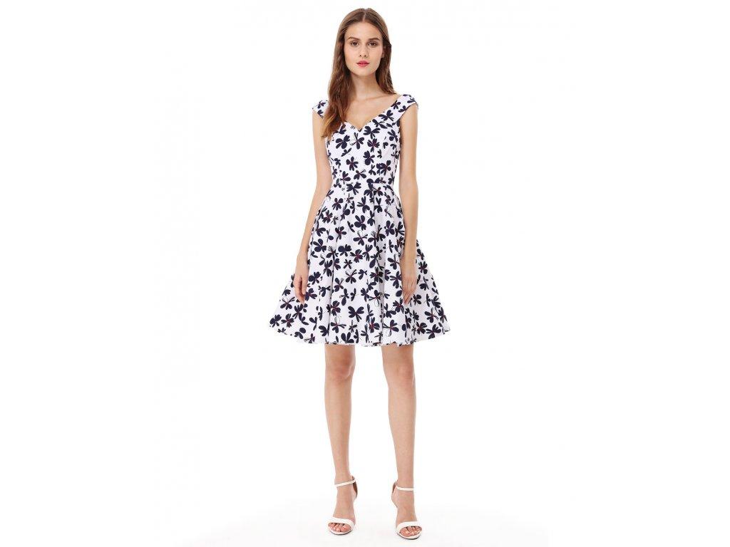 Ever Pretty šaty bílé s černými květy 5509