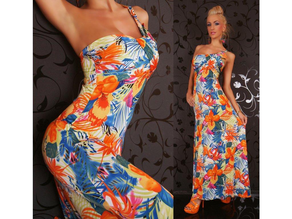 Dlouhé letní šaty květinové Queen O.F. ST122