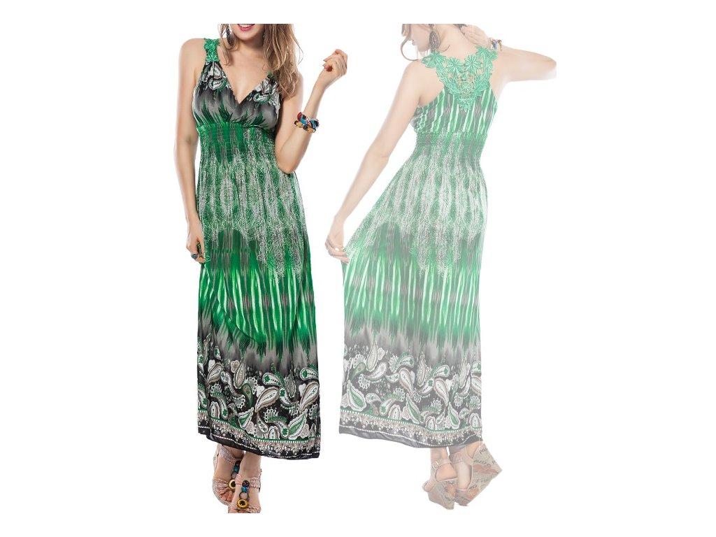A Letní šaty zelené s s krajkou na pláž či k moři OH447