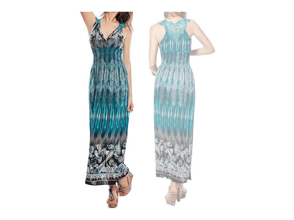 A Letní šaty modré s s krajkou na pláž či k moři OH443