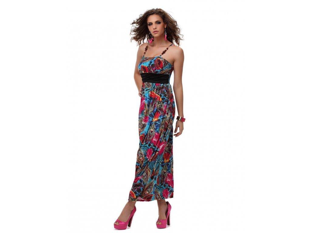A Letní šaty dlouhé s pavími motivy modré