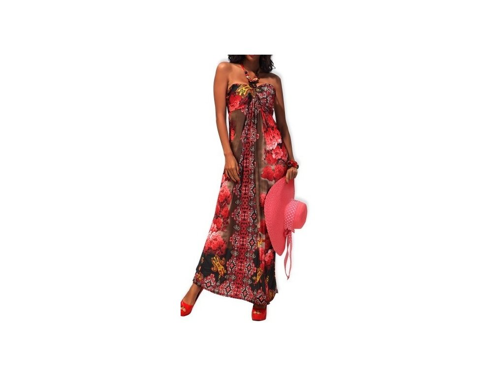 A Letní šaty dlouhé hnědé červené, korálky OH496