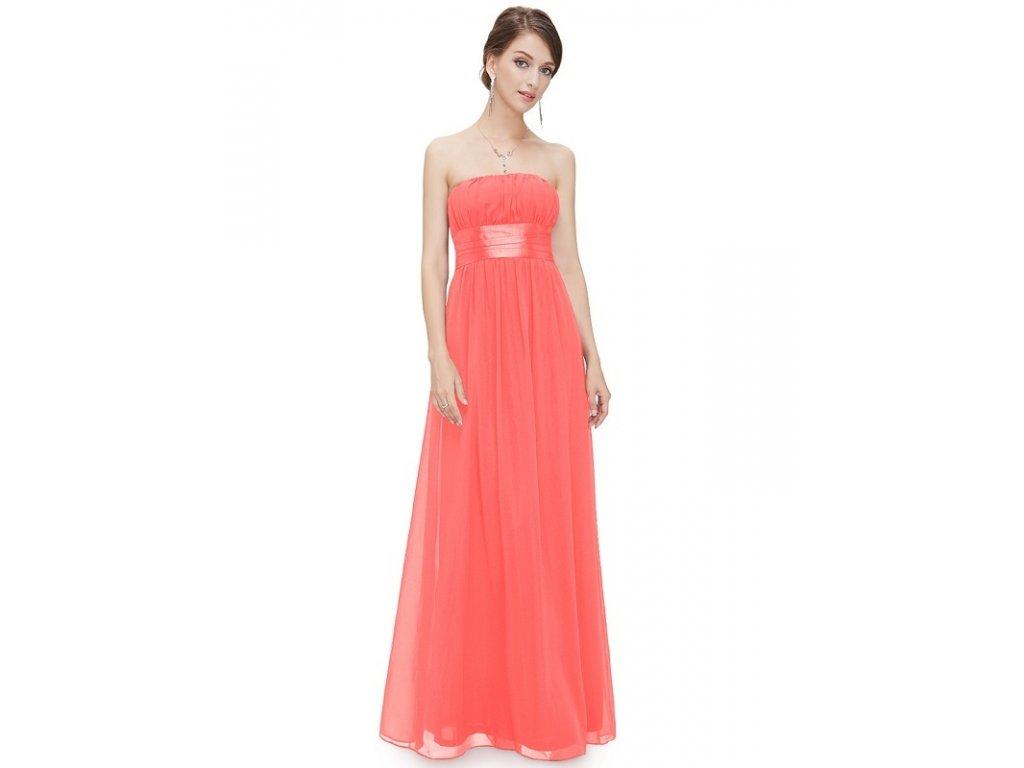 Ever Pretty plesové šaty s mašlí lososová 9060
