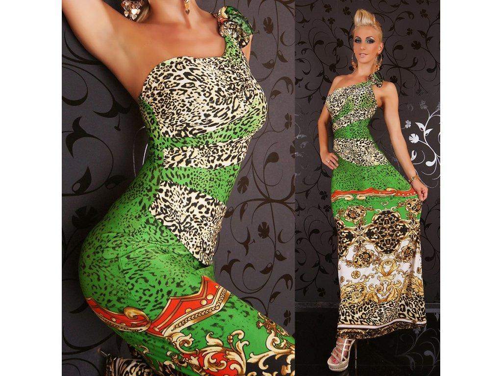 Queen O.F. letní šaty zelené leopardí 2 ST165