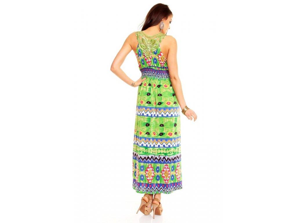 A Dlouhé šaty zelené vzorované trendy s krajkou Best Emilie