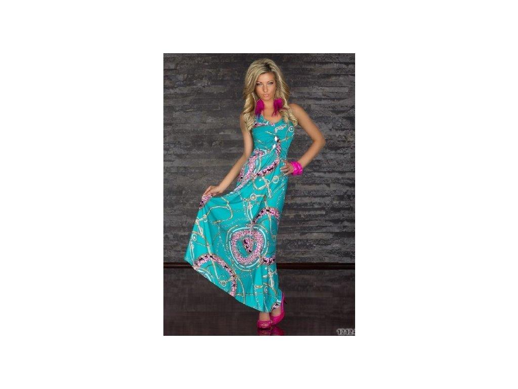 A Letní šaty dlouhé tyrkysové s kamínky