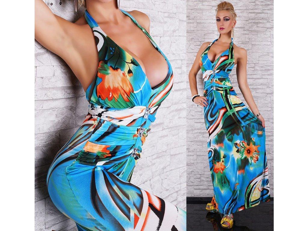 Queen O.F. letní dlouhé šaty vzorované ST134 - trendy-obleceni.cz c58188b06c