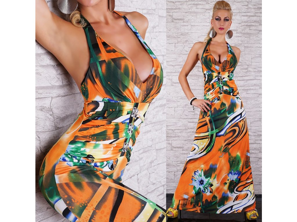 Queen O.F. letní dlouhé šaty vzorované oranžové ST130