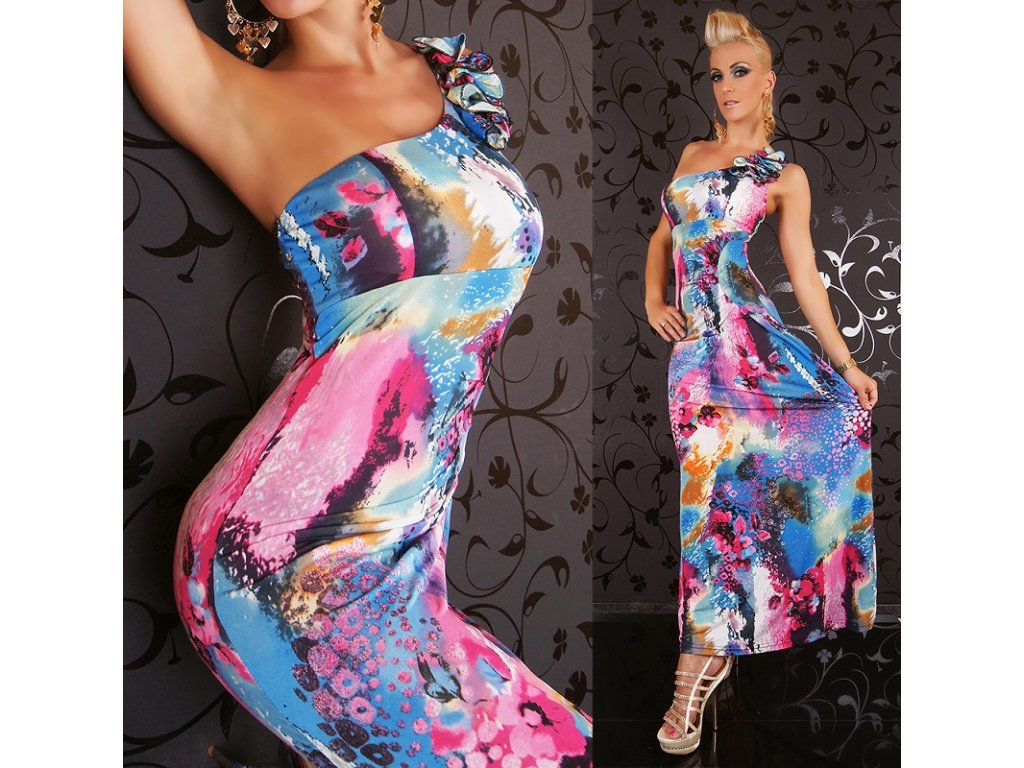 Queen O.F. letní dlouhé šaty multicolor  ST160