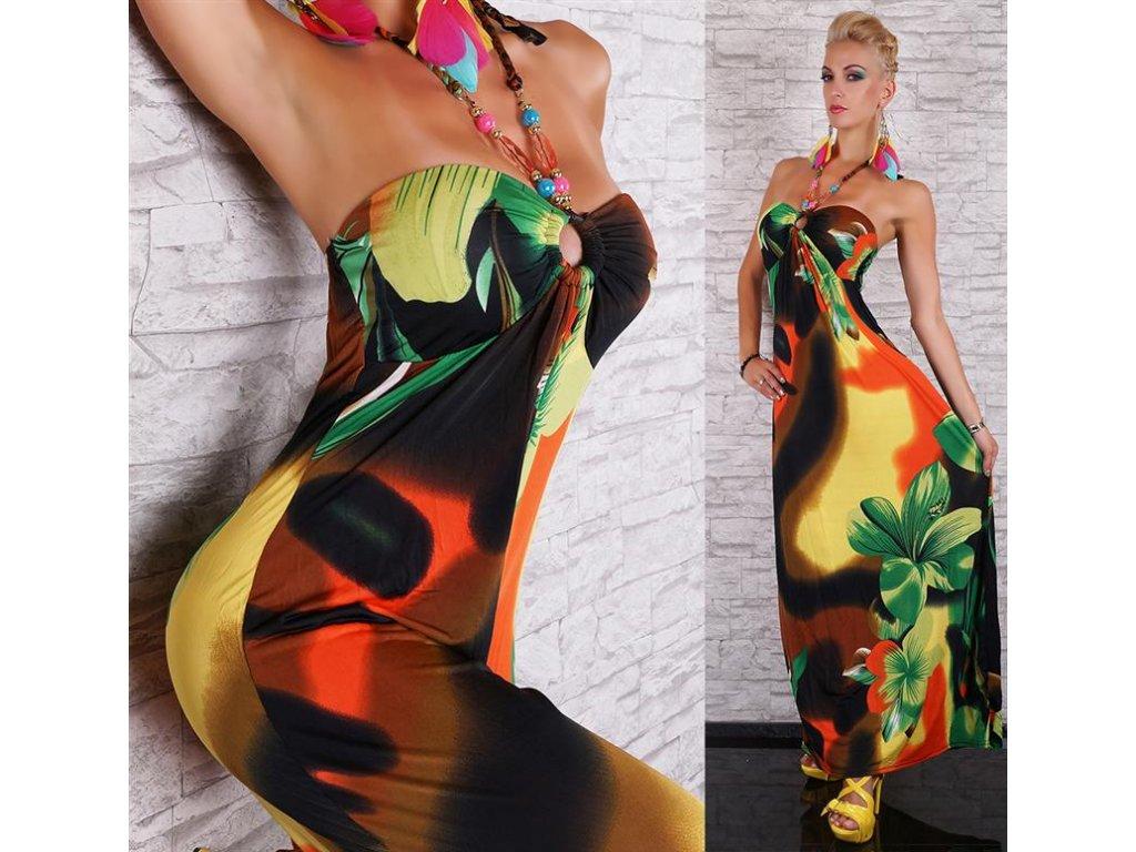 Dámské letní dlouhé šaty s korálky ST150