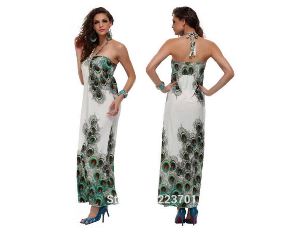 A Letní šaty bílé s pavími motivy 197BB