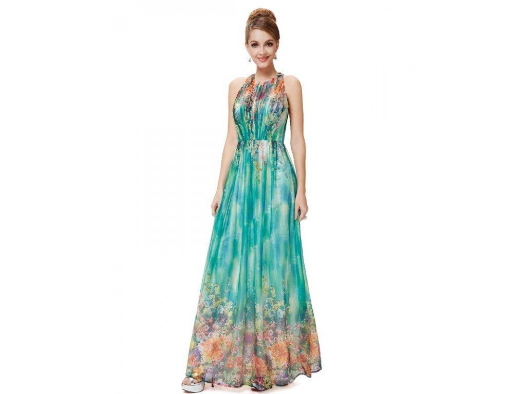 Ever Pretty letní květinové šaty tyrkysové 8258