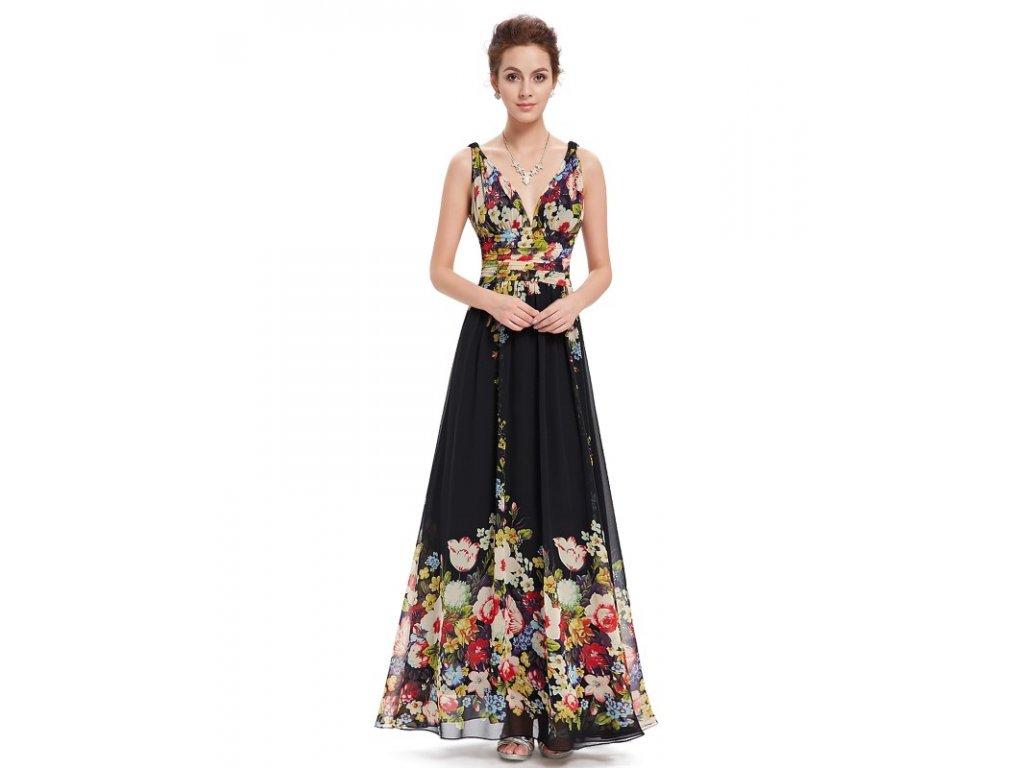 Ever Pretty letní květinové šaty černé 9636