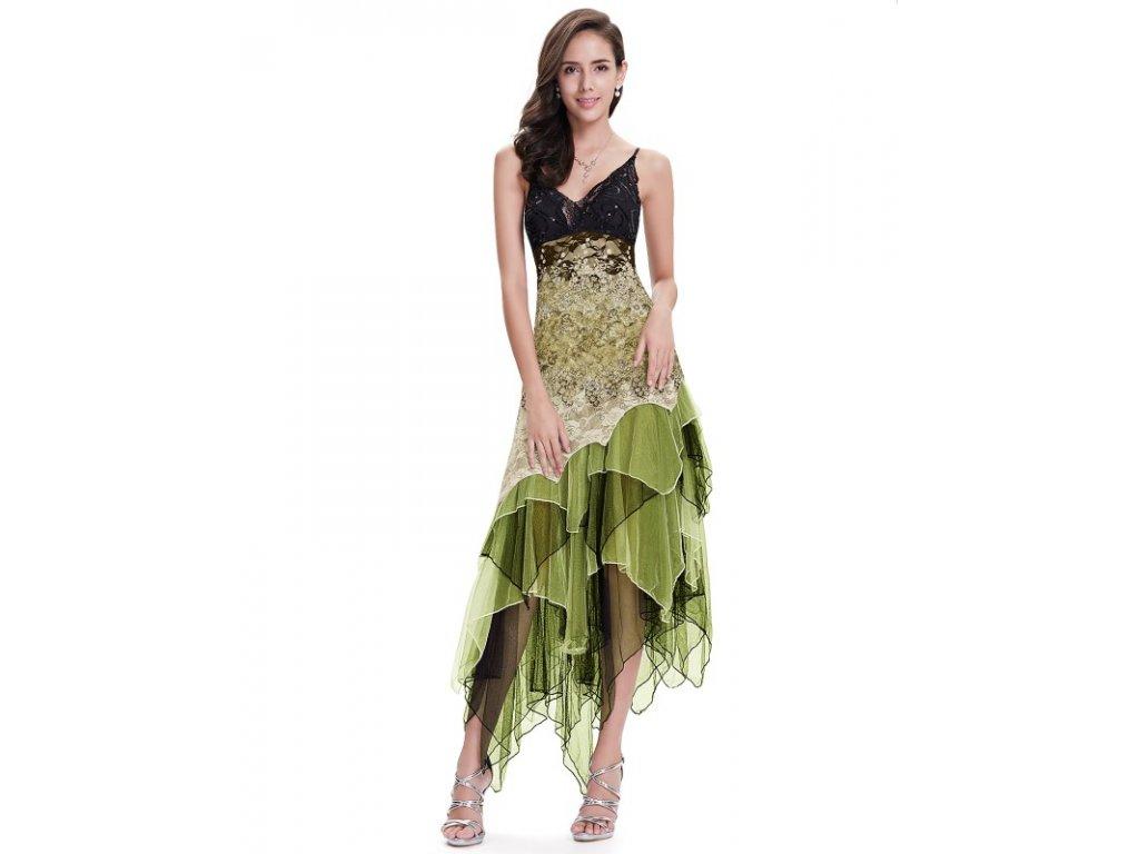 Ever Pretty luxusní letní šaty zelinkavé 6212