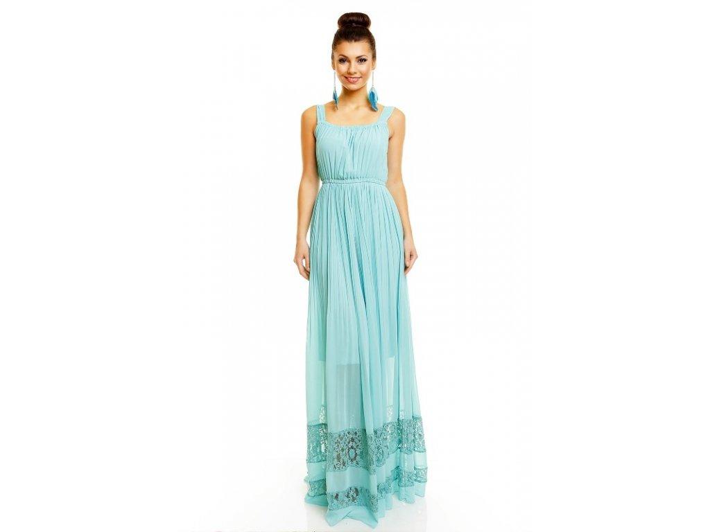 Letní šaty jemné zelené s krajkou HS683