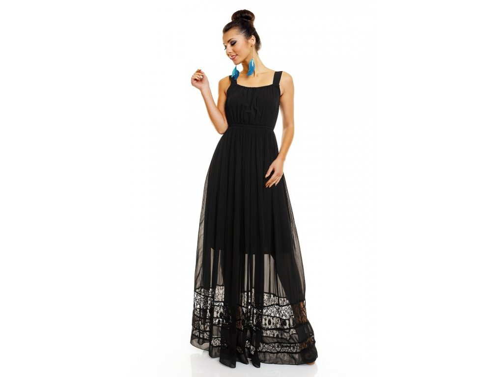 A Letní šaty jemné černé s krajkou HS682