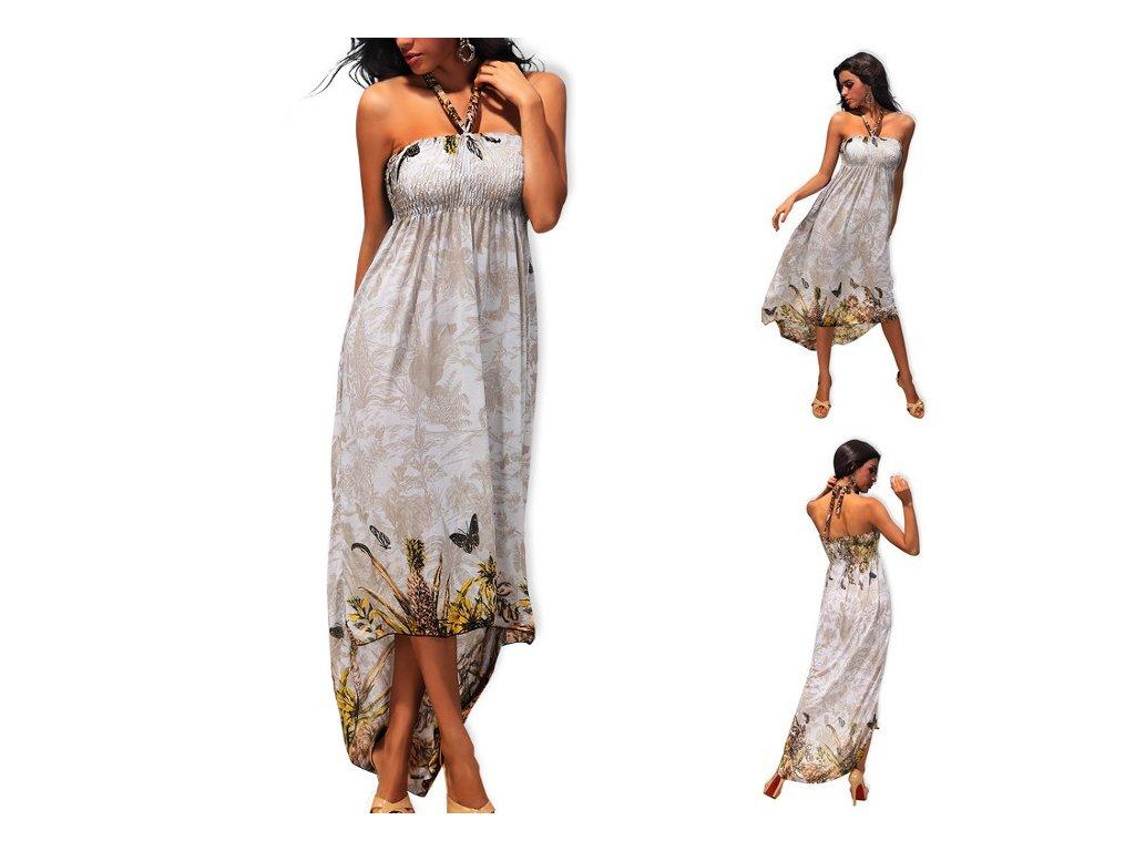 A Dlouhé letní šaty jemné šedé a jemné modré s motýly