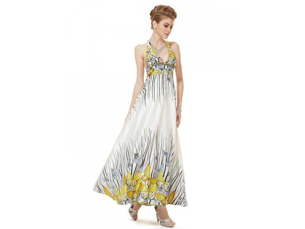 Letní saténové šaty Ever Pretty bílé s motýli 9615