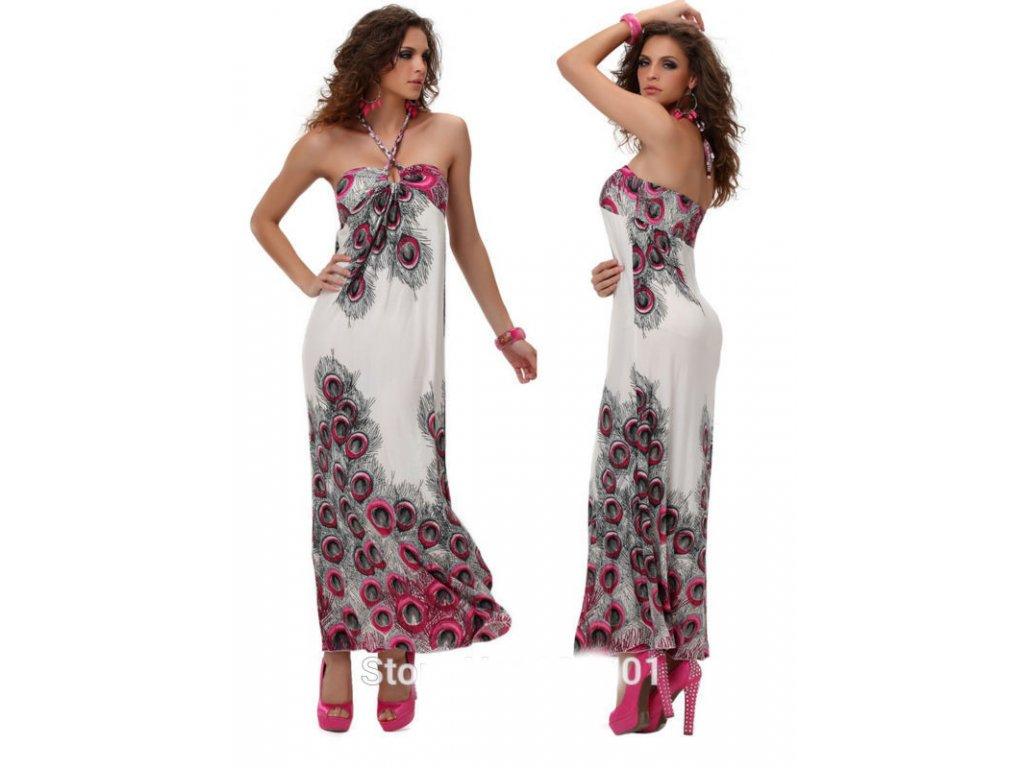 A Letní šaty bílé s pavími motivy 197AA