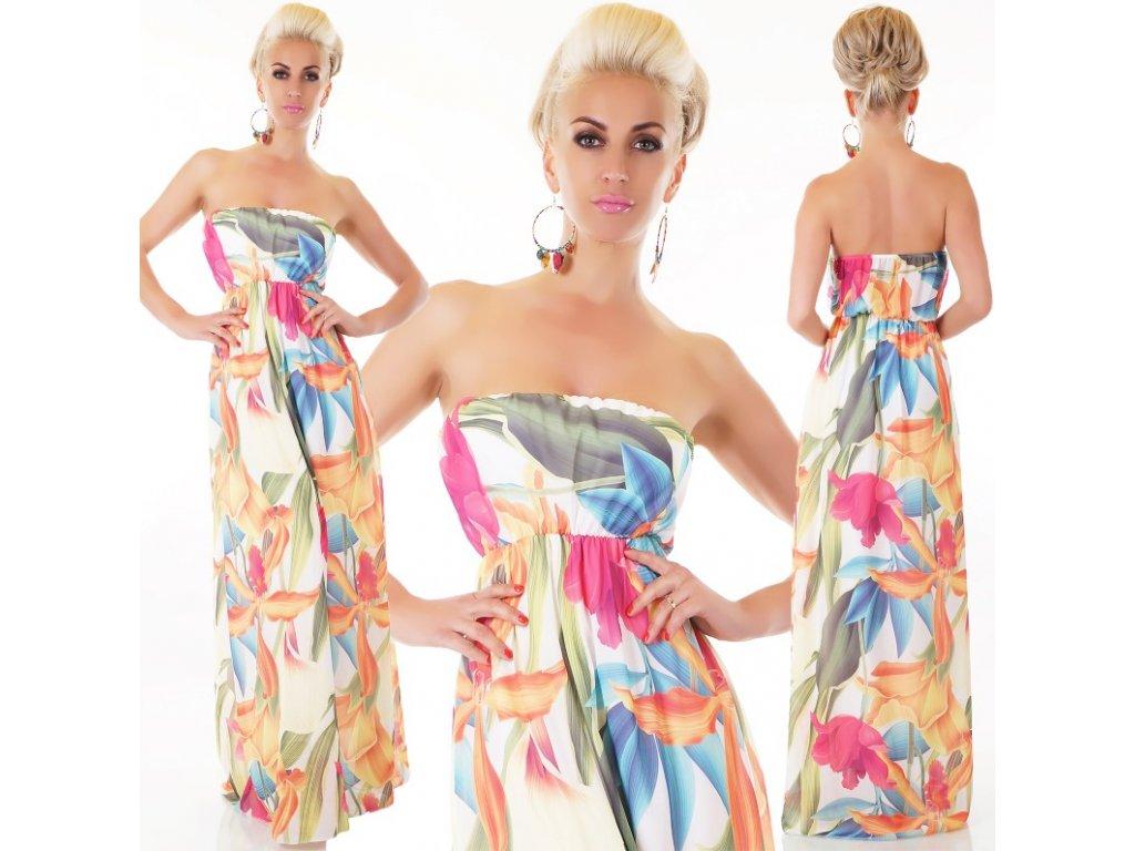 Letní šaty dlouhé jemné světlé s květy ST126