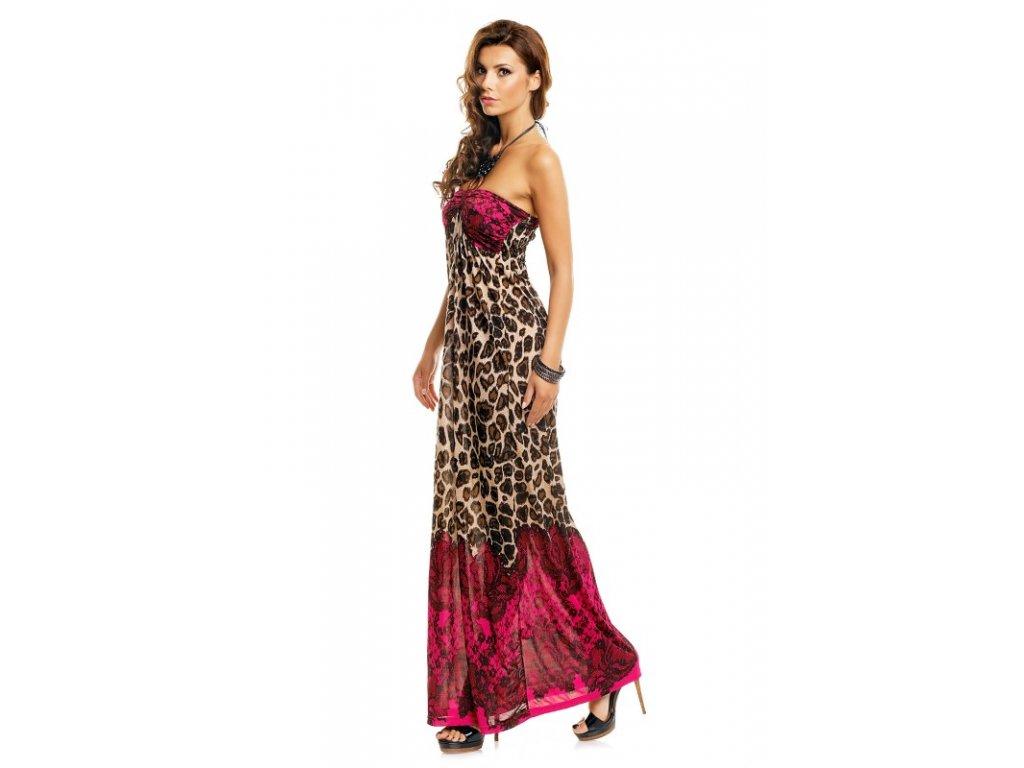 A Dlouhé letní šaty s korálky leopard 6102 - trendy-obleceni.cz f8d0e8e73f