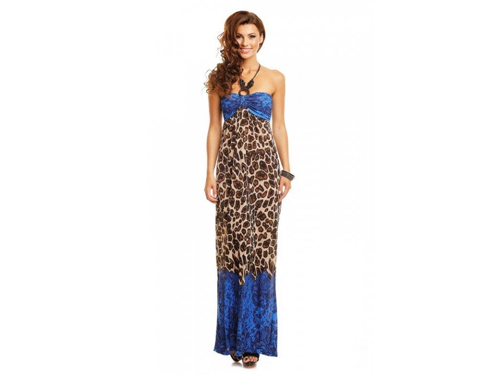 A Dlouhé letní šaty s korálky leopard modré