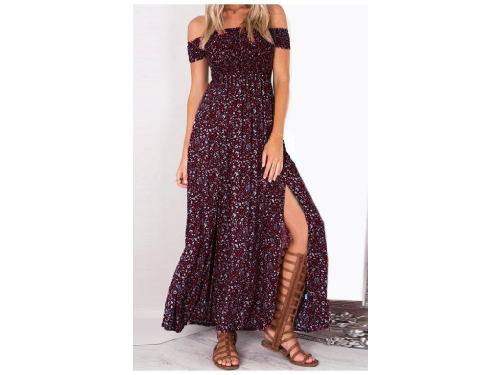 Letní šaty dlouhé vínové s květy