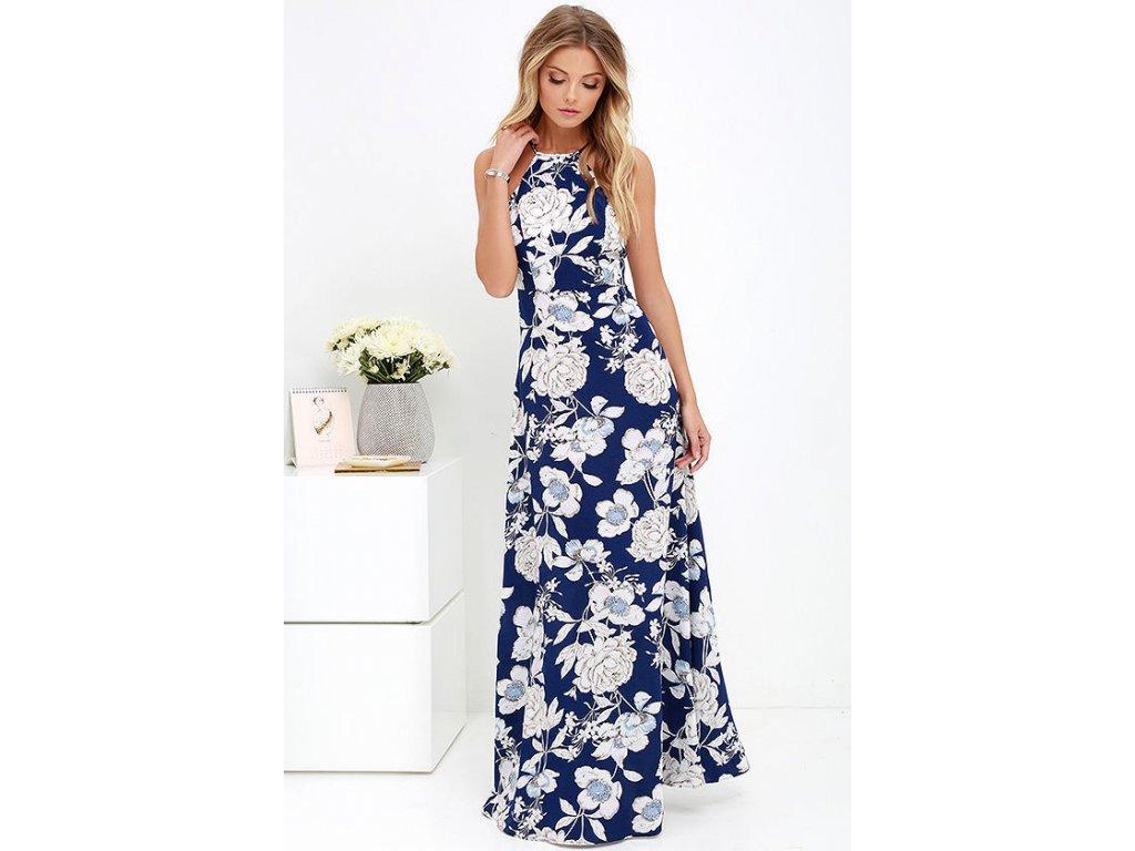 Letní šaty modré dlouhé 949-0 - trendy-obleceni.cz 1ee5de7c75