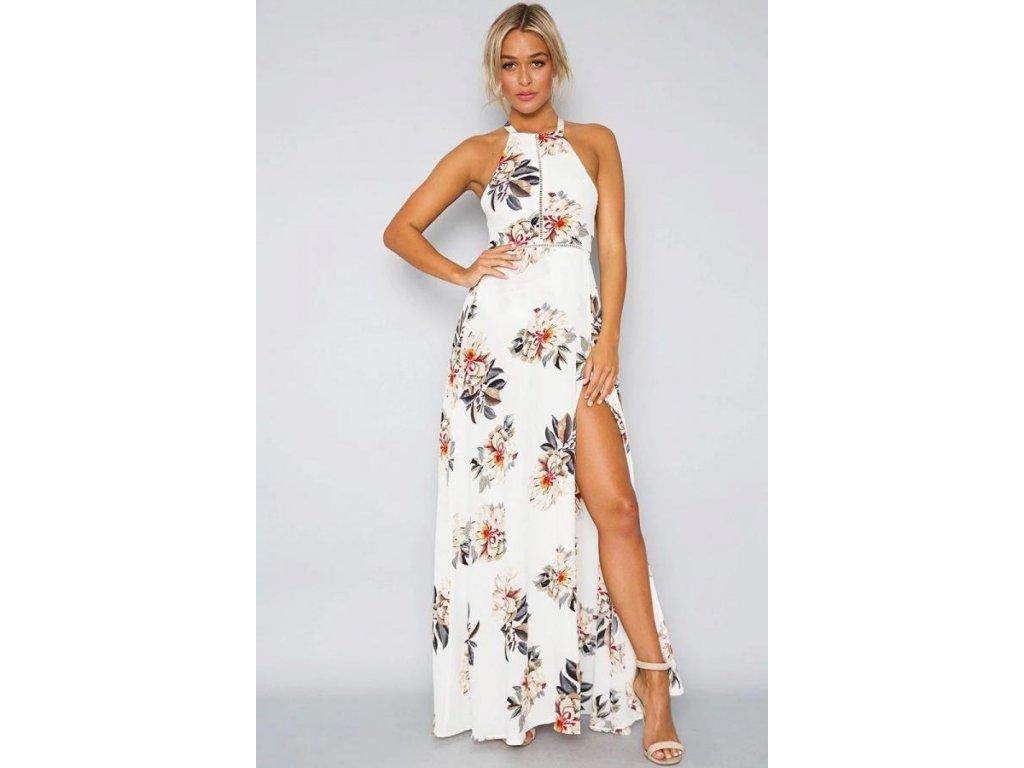 c56c5493300 A Letní šaty bílé dlouhé 924-1 - trendy-obleceni.cz
