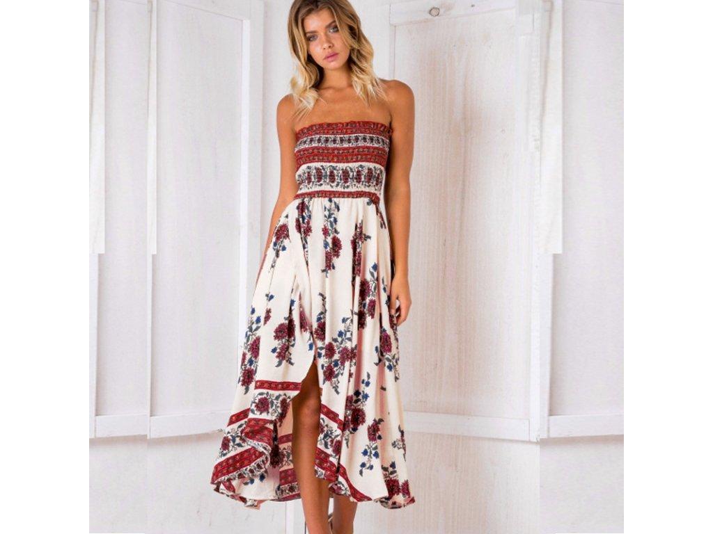 A Letní 3/4 šaty bez ramínek 281-0