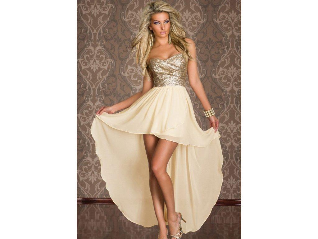 A Plesové šaty béžové se zlatými flitry