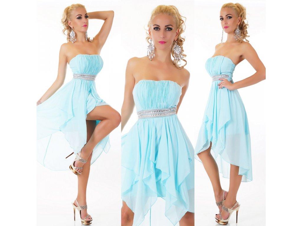 Plesové šaty jemně modré s kamínky ST151 + ramínka