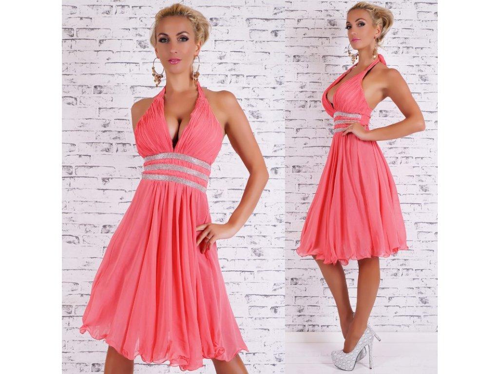 Plesové šaty se štrasem korálové ST122