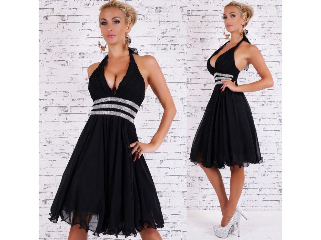 Plesové šaty se štrasem černé ST120