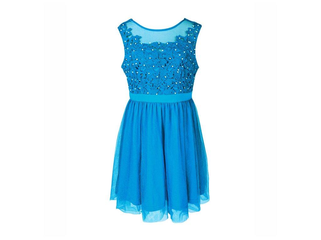 04d869d2020d A Plesové šaty krátké s krajkou modré s perličkami 45-2 - trendy ...