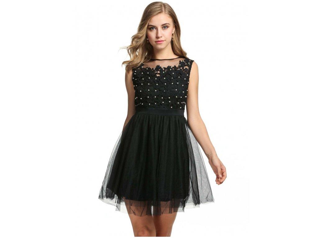 A Plesové šaty krátké s krajkou černé s perličkami 45-4 - trendy ... 04881d2400