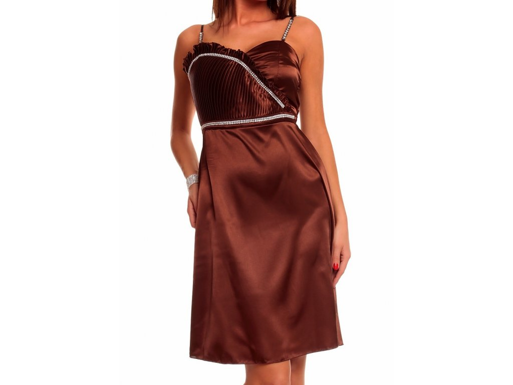 Plesové šaty hnědé se zdobením štrasem