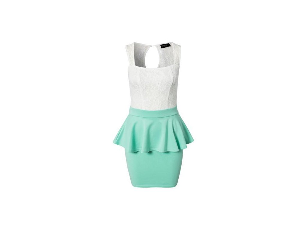 A Peplum šaty mentolové s krajkou OH713