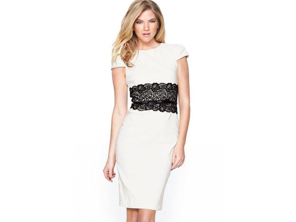 A Elegantní pouzdrové šaty s krajkou bílé 221