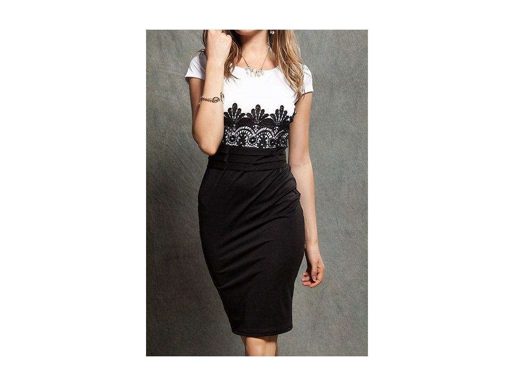 A Elegantní pouzdrové šaty s krajkou bílé OH685
